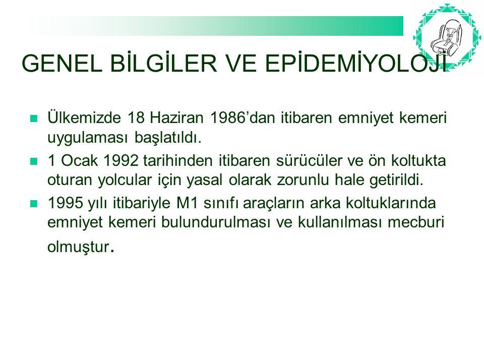 GENEL BİLGİLER VE EPİDEMİYOLOJİ Ülkemizde Karayolları Trafik Yönetmeliği'nin 150.