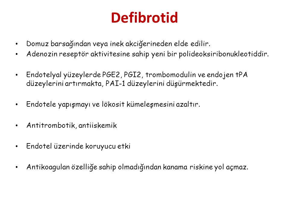 Defibrotid Domuz barsağından veya inek akciğerineden elde edilir. Adenozin reseptör aktivitesine sahip yeni bir polideoksiribonukleotiddir. Endotelyal