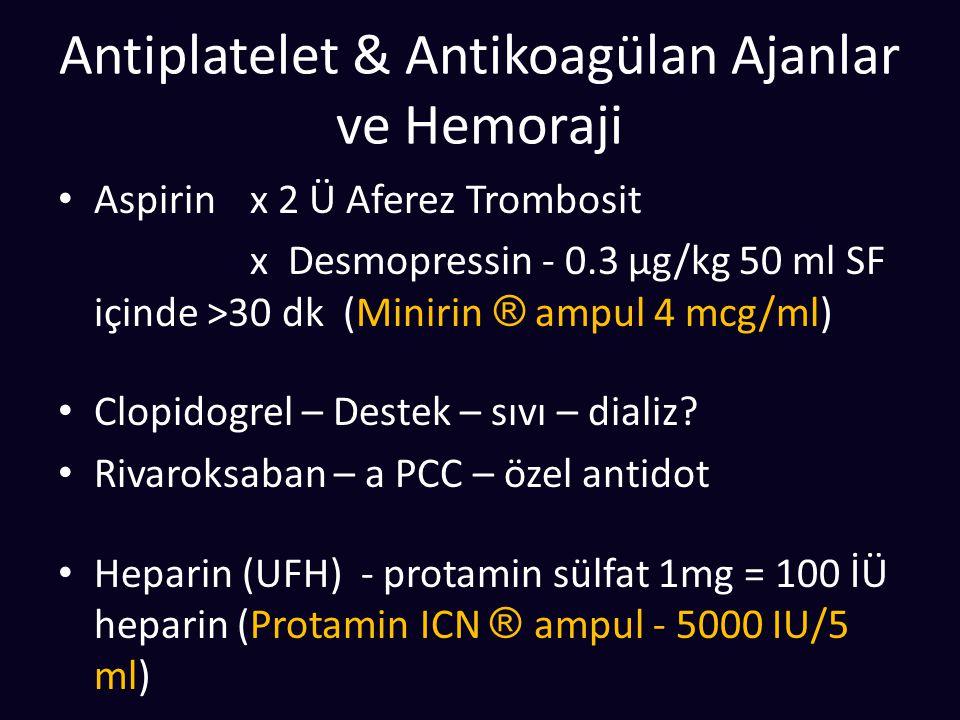 Antiplatelet & Antikoagülan Ajanlar ve Hemoraji Aspirin x 2 Ü Aferez Trombosit x Desmopressin - 0.3 μg/kg 50 ml SF içinde >30 dk (Minirin ® ampul 4 mc