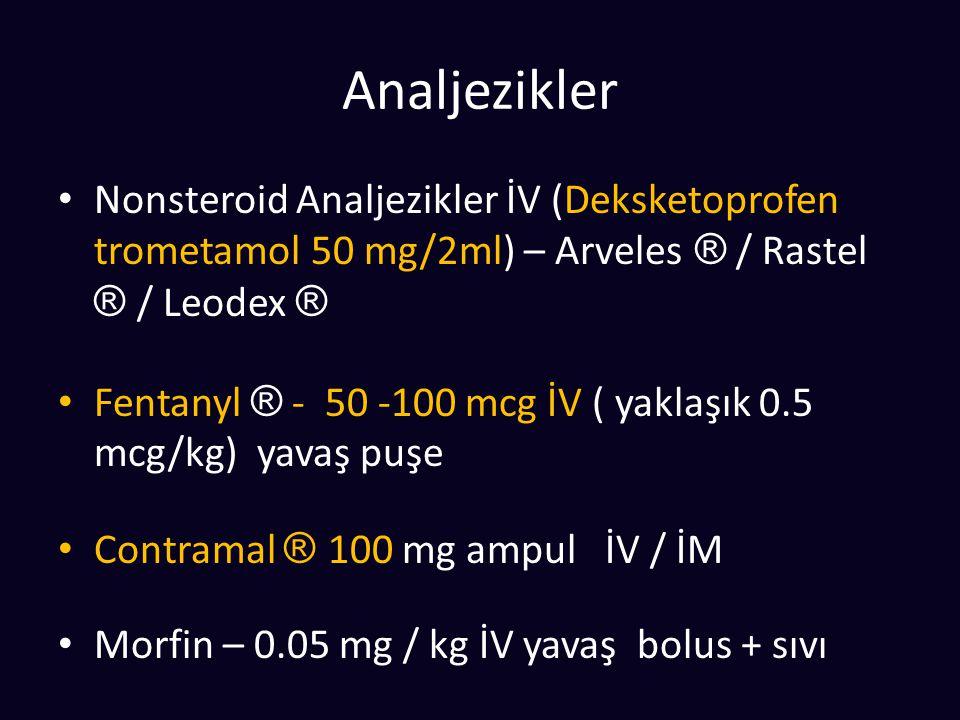 Analjezikler Nonsteroid Analjezikler İV (Deksketoprofen trometamol 50 mg/2ml) – Arveles ® / Rastel ® / Leodex ® Fentanyl ® - 50 -100 mcg İV ( yaklaşık