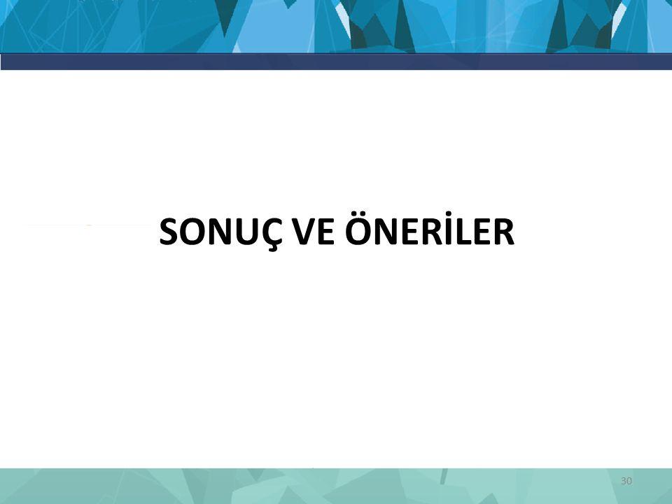 SONUÇ VE ÖNERİLER 30