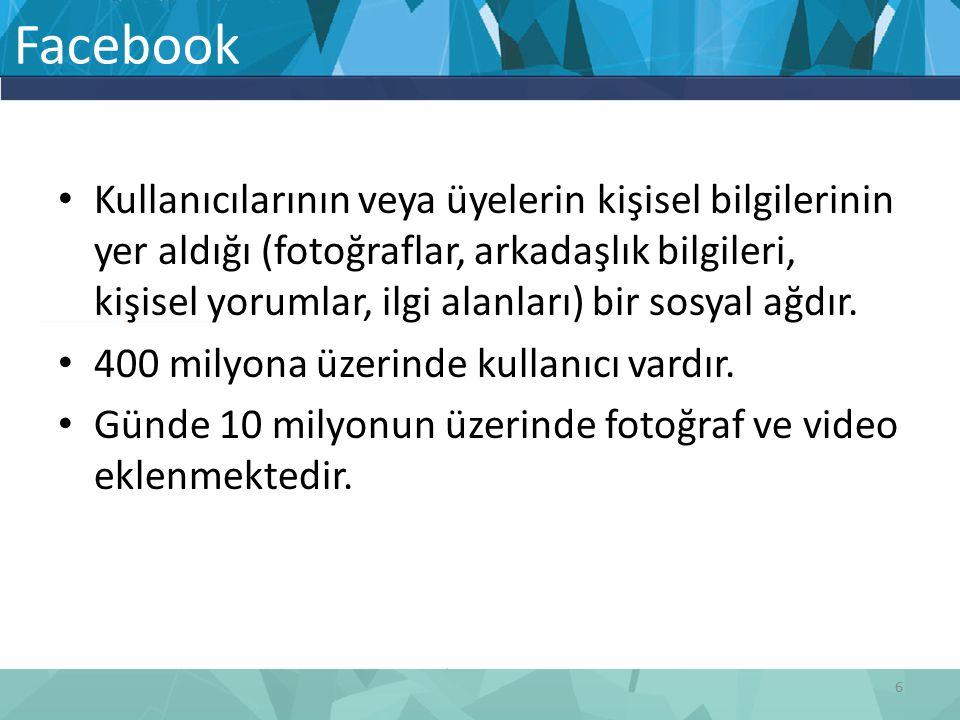 Kullanıcılarının veya üyelerin kişisel bilgilerinin yer aldığı (fotoğraflar, arkadaşlık bilgileri, kişisel yorumlar, ilgi alanları) bir sosyal ağdır.