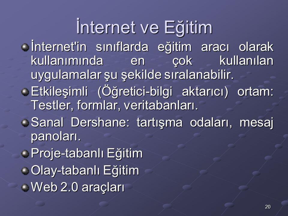 20 İnternet ve Eğitim İnternet in sınıflarda eğitim aracı olarak kullanımında en çok kullanılan uygulamalar şu şekilde sıralanabilir.