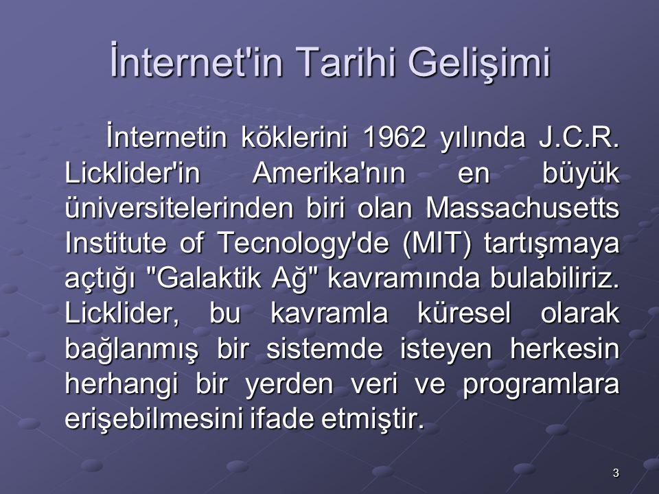 3 İnternet in Tarihi Gelişimi İnternetin köklerini 1962 yılında J.C.R.