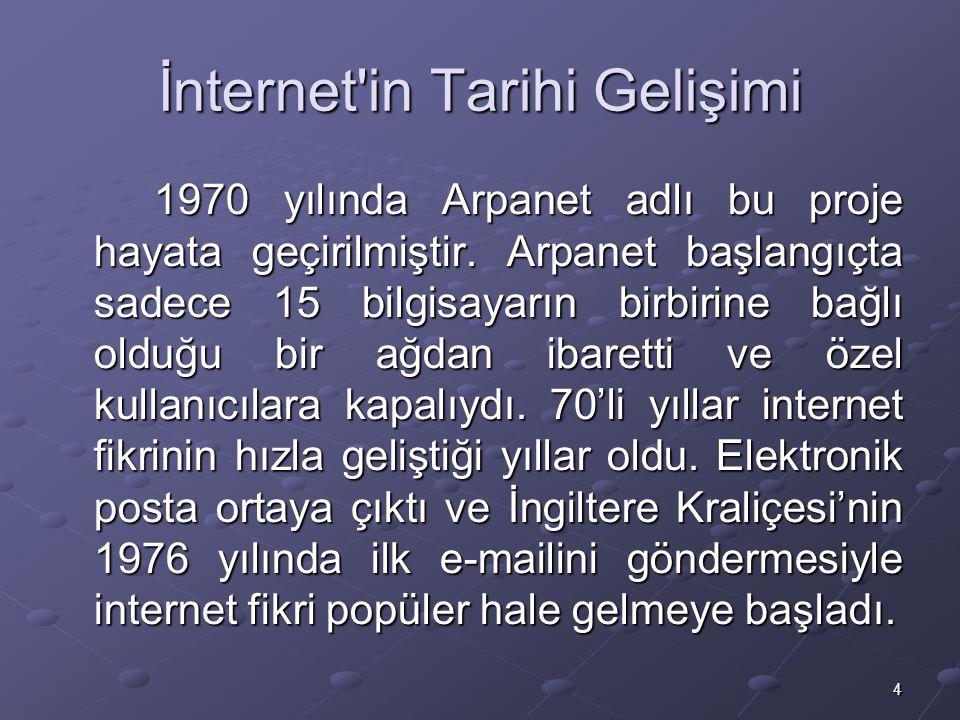 4 İnternet in Tarihi Gelişimi 1970 yılında Arpanet adlı bu proje hayata geçirilmiştir.