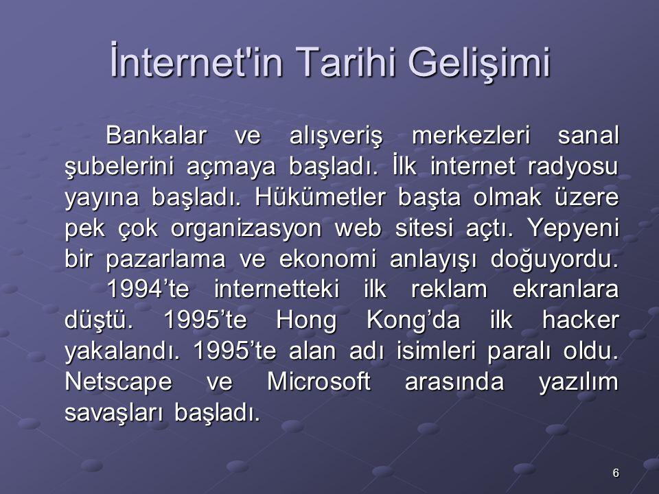 6 İnternet in Tarihi Gelişimi Bankalar ve alışveriş merkezleri sanal şubelerini açmaya başladı.
