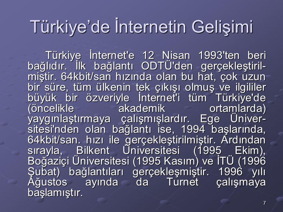 7 Türkiye'de İnternetin Gelişimi Türkiye İnternet e 12 Nisan 1993 ten beri bağlıdır.