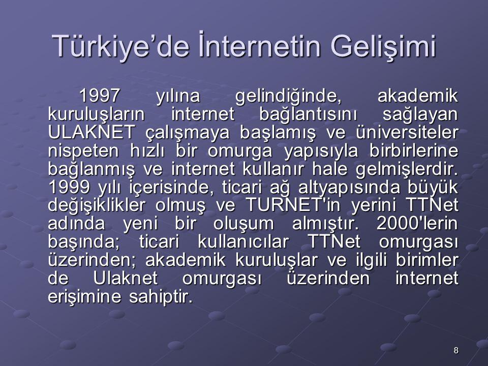 8 Türkiye'de İnternetin Gelişimi 1997 yılına gelindiğinde, akademik kuruluşların internet bağlantısını sağlayan ULAKNET çalışmaya başlamış ve üniversiteler nispeten hızlı bir omurga yapısıyla birbirlerine bağlanmış ve internet kullanır hale gelmişlerdir.