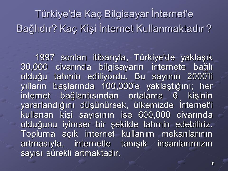 9 Türkiye de Kaç Bilgisayar İnternet e Bağlıdır.Kaç Kişi İnternet Kullanmaktadır .