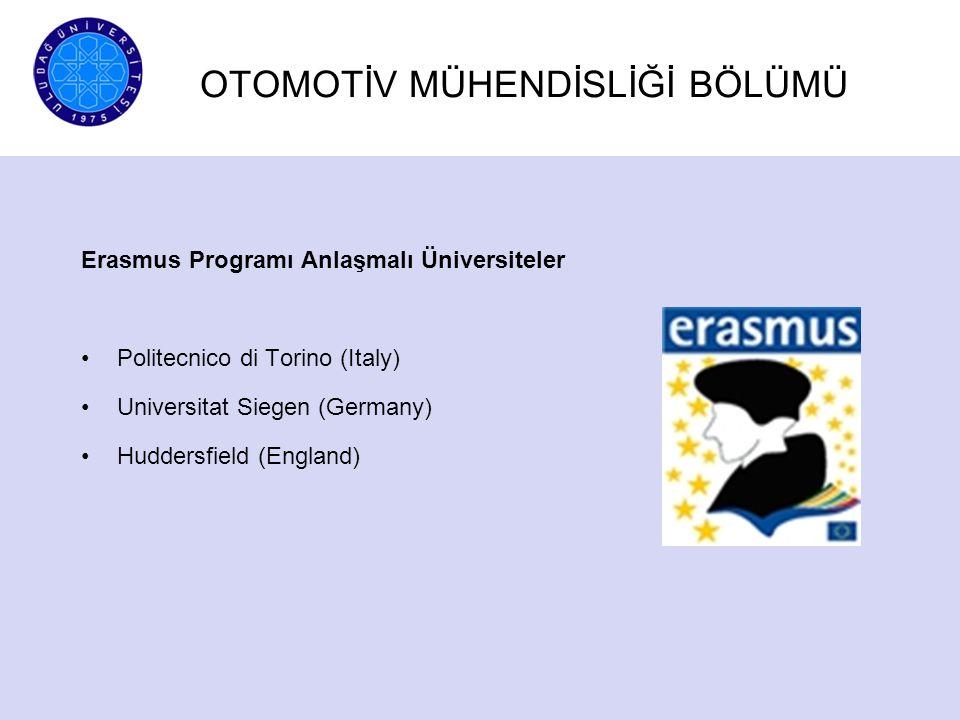 Erasmus Programı Anlaşmalı Üniversiteler Politecnico di Torino (Italy) Universitat Siegen (Germany) Huddersfield (England) OTOMOTİV MÜHENDİSLİĞİ BÖLÜM
