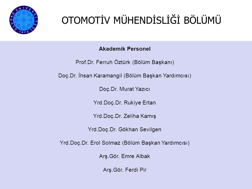 Akademik Personel Prof.Dr. Ferruh Öztürk (Bölüm Başkanı) Doç.Dr. İhsan Karamangil (Bölüm Başkan Yardımcısı) Doç.Dr. Murat Yazıcı Yrd.Doç.Dr. Rukiye Er