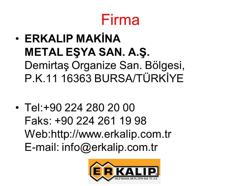 Firma ERKALIP MAKİNA METAL EŞYA SAN. A.Ş. Demirtaş Organize San. Bölgesi, P.K.11 16363 BURSA/TÜRKİYE Tel:+90 224 280 20 00 Faks: +90 224 261 19 98 Web