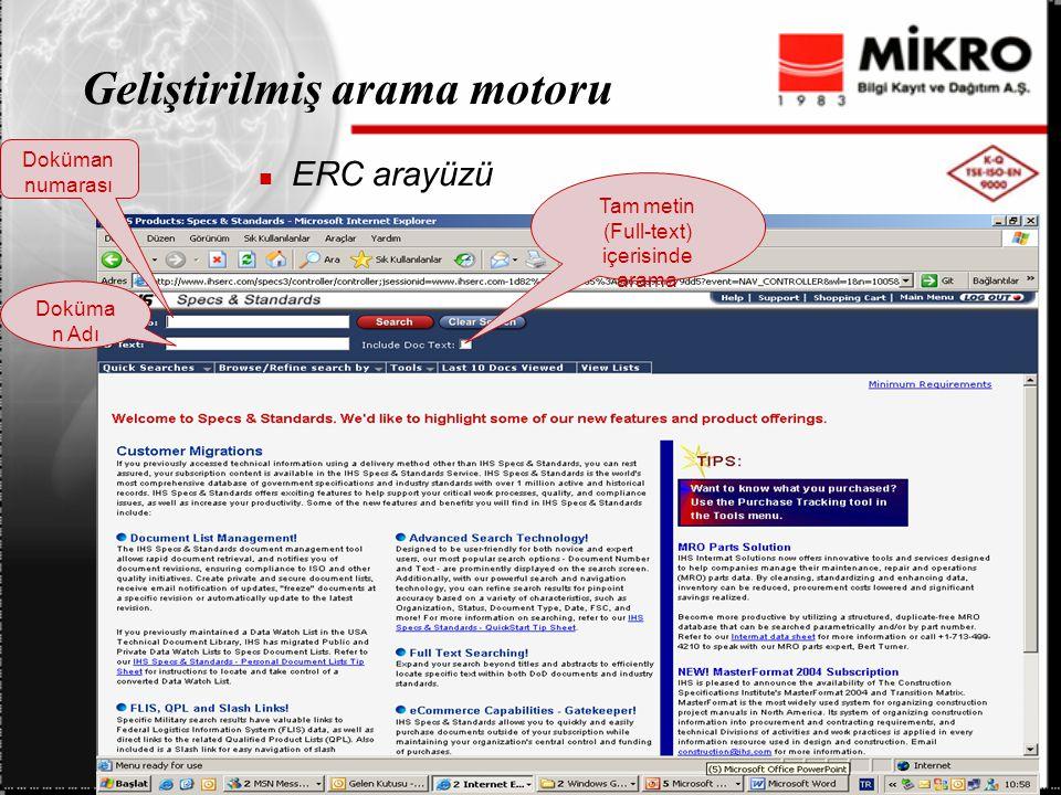 Geliştirilmiş arama motoru ERC arayüzü Doküman numarası Doküma n Adı Tam metin (Full-text) içerisinde arama