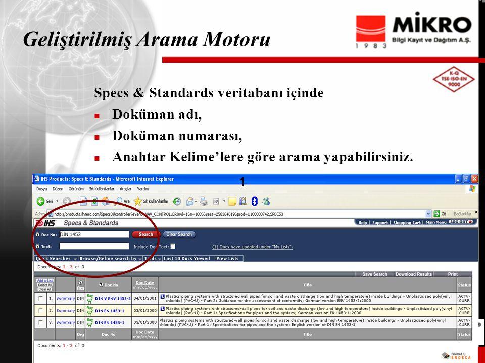 www.ihs.com 15IHS Confidential © IHS 2001 15 Geliştirilmiş Arama Motoru Specs & Standards veritabanı içinde Doküman adı, Doküman numarası, Anahtar Kelime'lere göre arama yapabilirsiniz.