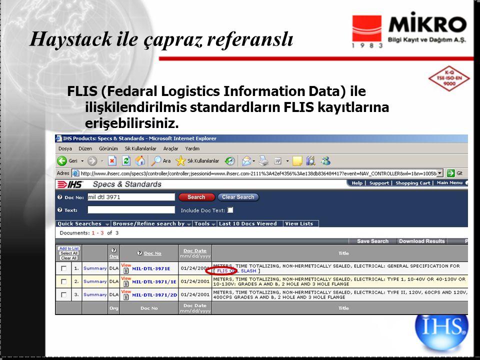 Haystack ile çapraz referanslı FLIS (Fedaral Logistics Information Data) ile ilişkilendirilmis standardların FLIS kayıtlarına erişebilirsiniz.