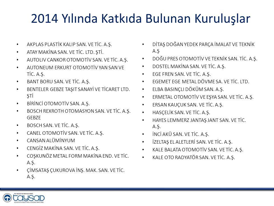 2014 Yılında Katkıda Bulunan Kuruluşlar AKPLAS PLASTİK KALIP SAN.