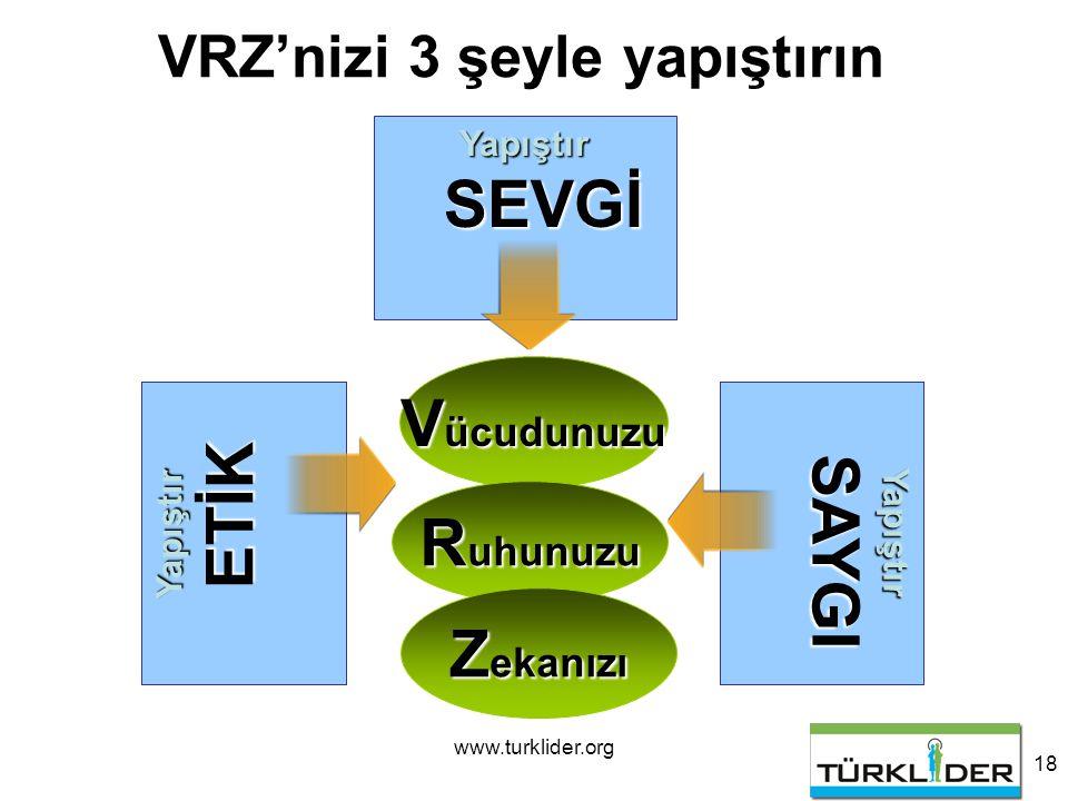 www.turklider.org 18 V ücudunuzu Yapıştır SEVGİ VRZ'nizi 3 şeyle yapıştırın R uhunuzu Z ekanızı Yapıştır SAYGI Yapıştır ETİK