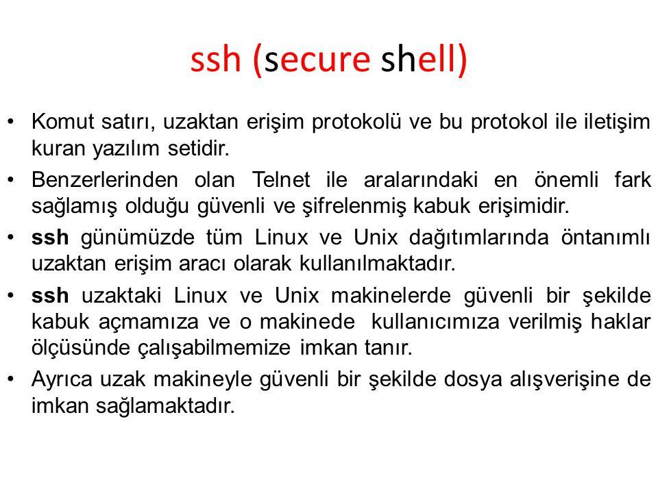 ssh (secure shell) Komut satırı, uzaktan erişim protokolü ve bu protokol ile iletişim kuran yazılım setidir. Benzerlerinden olan Telnet ile aralarınd