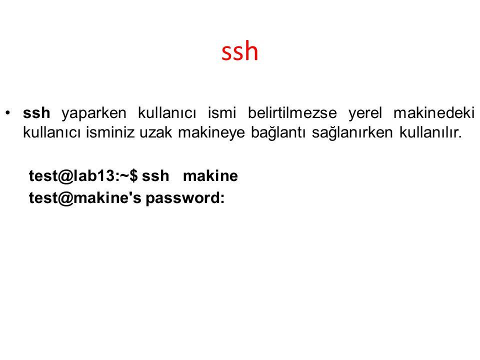 ssh ssh yaparken kullanıcı ismi belirtilmezse yerel makinedeki kullanıcı isminiz uzak makineye bağlantı sağlanırken kullanılır. test@lab13:~$ ssh maki
