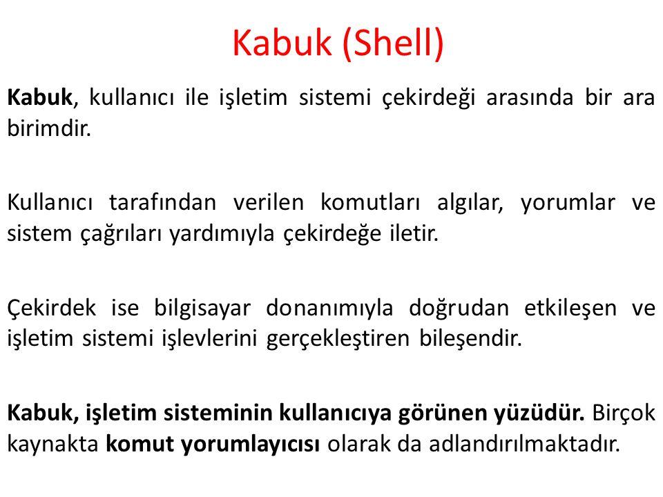 Kabuk (Shell) Kabuk, kullanıcı ile işletim sistemi çekirdeği arasında bir ara birimdir. Kullanıcı tarafından verilen komutları algılar, yorumlar ve si