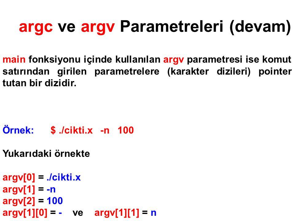 argc ve argv Parametreleri (devam) main fonksiyonu içinde kullanılan argv parametresi ise komut satırından girilen parametrelere (karakter dizileri) p