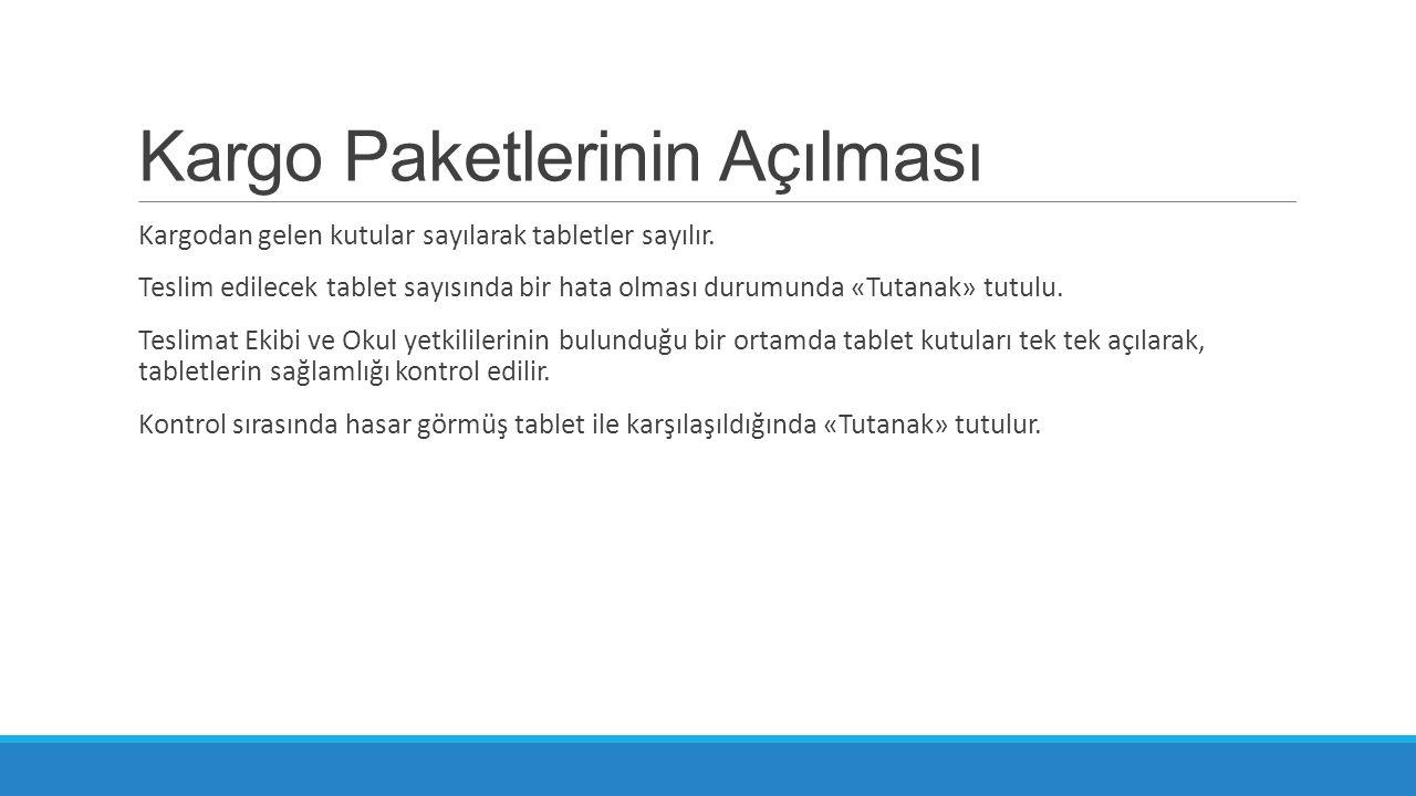 Kargo Paketlerinin Açılması Kargodan gelen kutular sayılarak tabletler sayılır. Teslim edilecek tablet sayısında bir hata olması durumunda «Tutanak» t