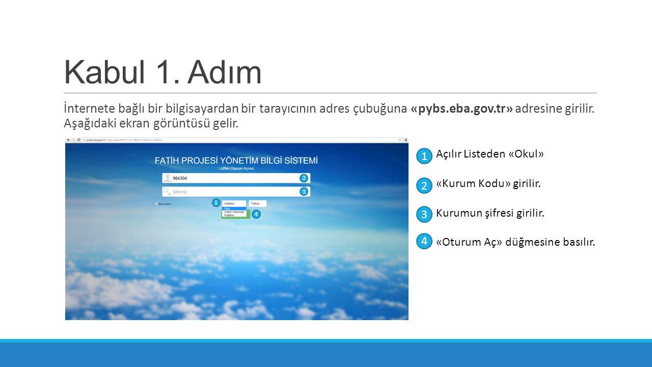 Kabul 1. Adım İnternete bağlı bir bilgisayardan bir tarayıcının adres çubuğuna «pybs.eba.gov.tr» adresine girilir. Aşağıdaki ekran görüntüsü gelir. Aç
