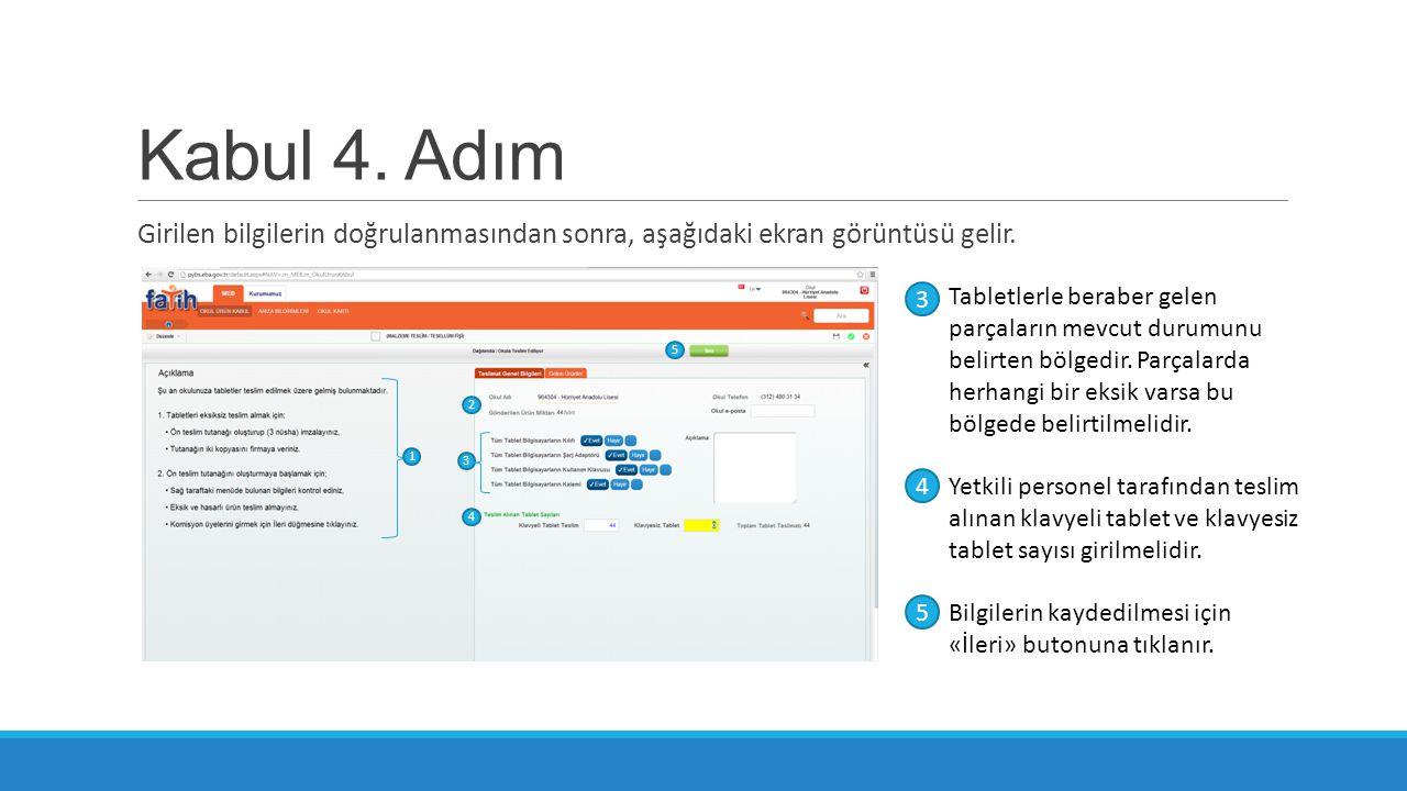 Kabul 4. Adım Girilen bilgilerin doğrulanmasından sonra, aşağıdaki ekran görüntüsü gelir. Tabletlerle beraber gelen parçaların mevcut durumunu belirte