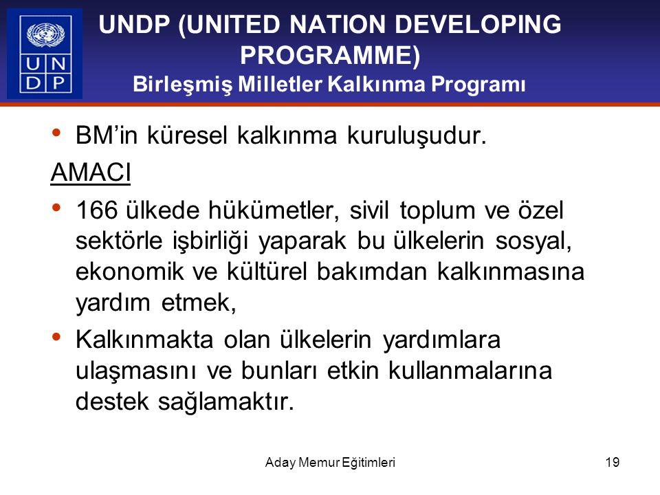 Aday Memur Eğitimleri19 UNDP (UNITED NATION DEVELOPING PROGRAMME) Birleşmiş Milletler Kalkınma Programı BM'in küresel kalkınma kuruluşudur. AMACI 166
