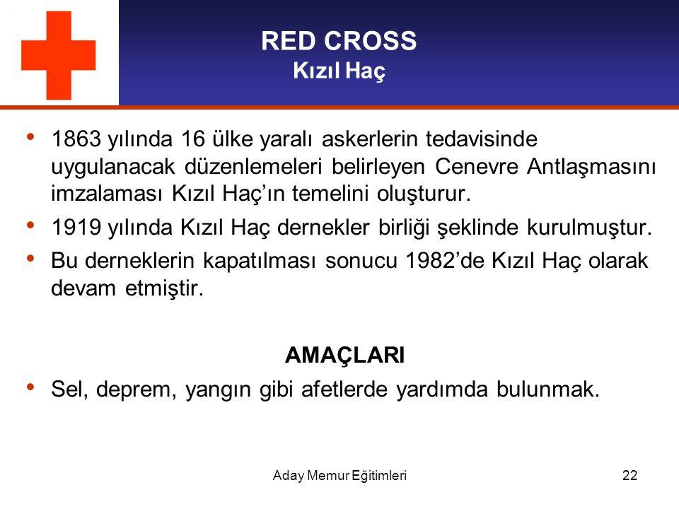 Aday Memur Eğitimleri22 RED CROSS Kızıl Haç 1863 yılında 16 ülke yaralı askerlerin tedavisinde uygulanacak düzenlemeleri belirleyen Cenevre Antlaşması