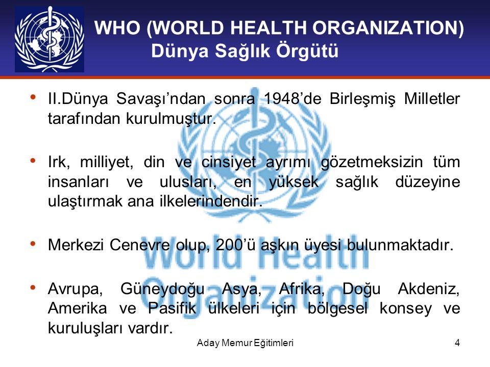 Aday Memur Eğitimleri4 WHO (WORLD HEALTH ORGANIZATION) Dünya Sağlık Örgütü II.Dünya Savaşı'ndan sonra 1948'de Birleşmiş Milletler tarafından kurulmuşt