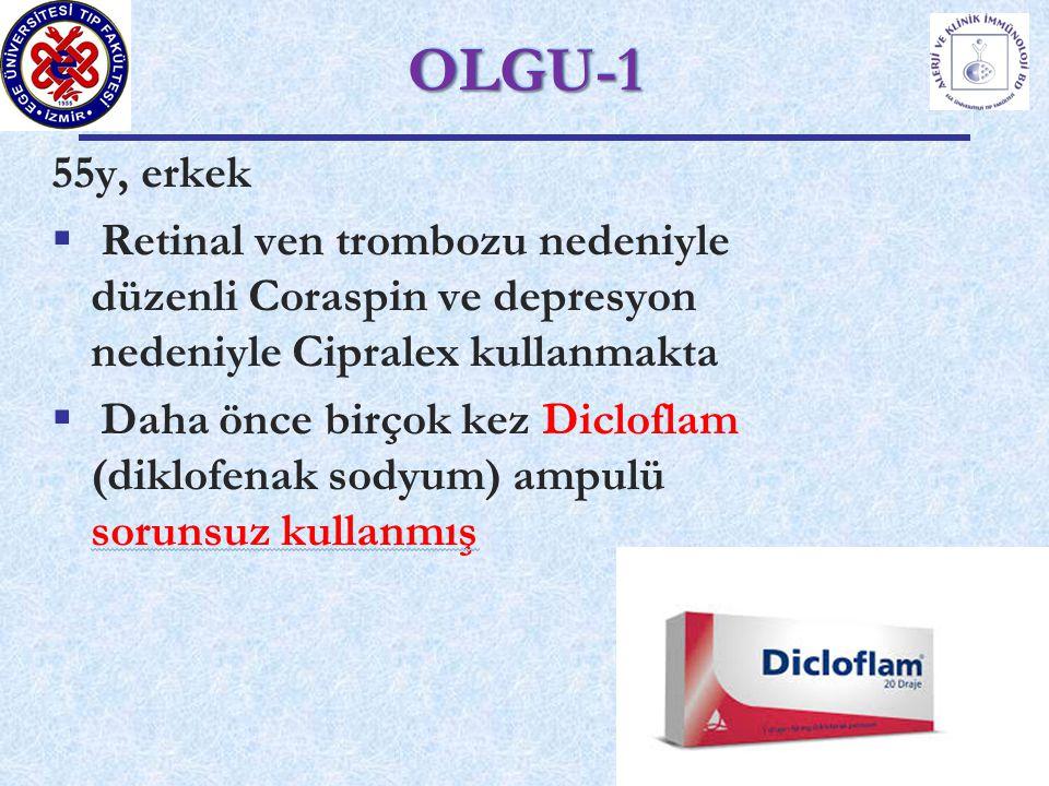 55y, erkek  Retinal ven trombozu nedeniyle düzenli Coraspin ve depresyon nedeniyle Cipralex kullanmakta  Daha önce birçok kez Dicloflam (diklofenak sodyum) ampulü sorunsuz kullanmış OLGU-1OLGU-1