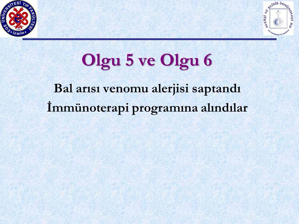 Olgu 5 ve Olgu 6 Bal arısı venomu alerjisi saptandı İmmünoterapi programına alındılar
