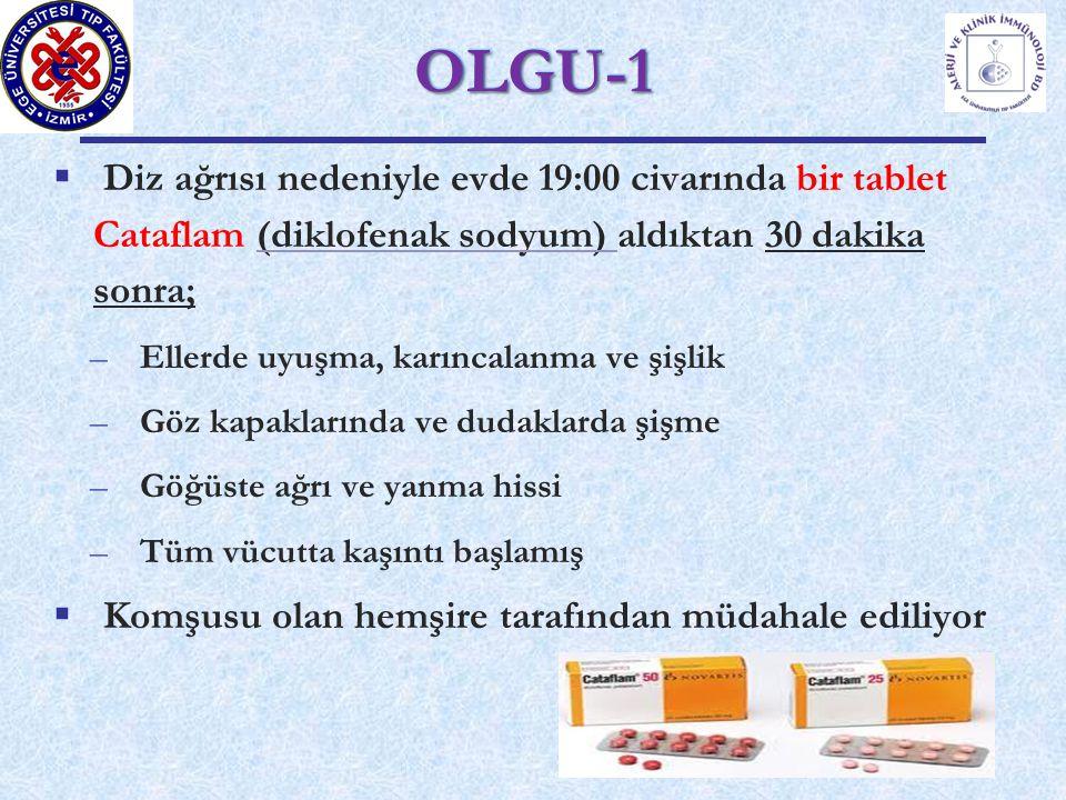  Diz ağrısı nedeniyle evde 19:00 civarında bir tablet Cataflam (diklofenak sodyum) aldıktan 30 dakika sonra; –Ellerde uyuşma, karıncalanma ve şişlik –Göz kapaklarında ve dudaklarda şişme –Göğüste ağrı ve yanma hissi –Tüm vücutta kaşıntı başlamış  Komşusu olan hemşire tarafından müdahale ediliyor OLGU-1OLGU-1