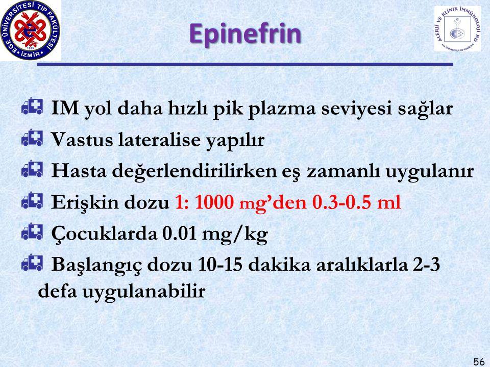 56 EpinefrinEpinefrin  IM yol daha hızlı pik plazma seviyesi sağlar  Vastus lateralise yapılır  Hasta değerlendirilirken eş zamanlı uygulanır  Erişkin dozu 1: 1000 m g'den 0.3-0.5 ml  Çocuklarda 0.01 mg/kg  Başlangıç dozu 10-15 dakika aralıklarla 2-3 defa uygulanabilir