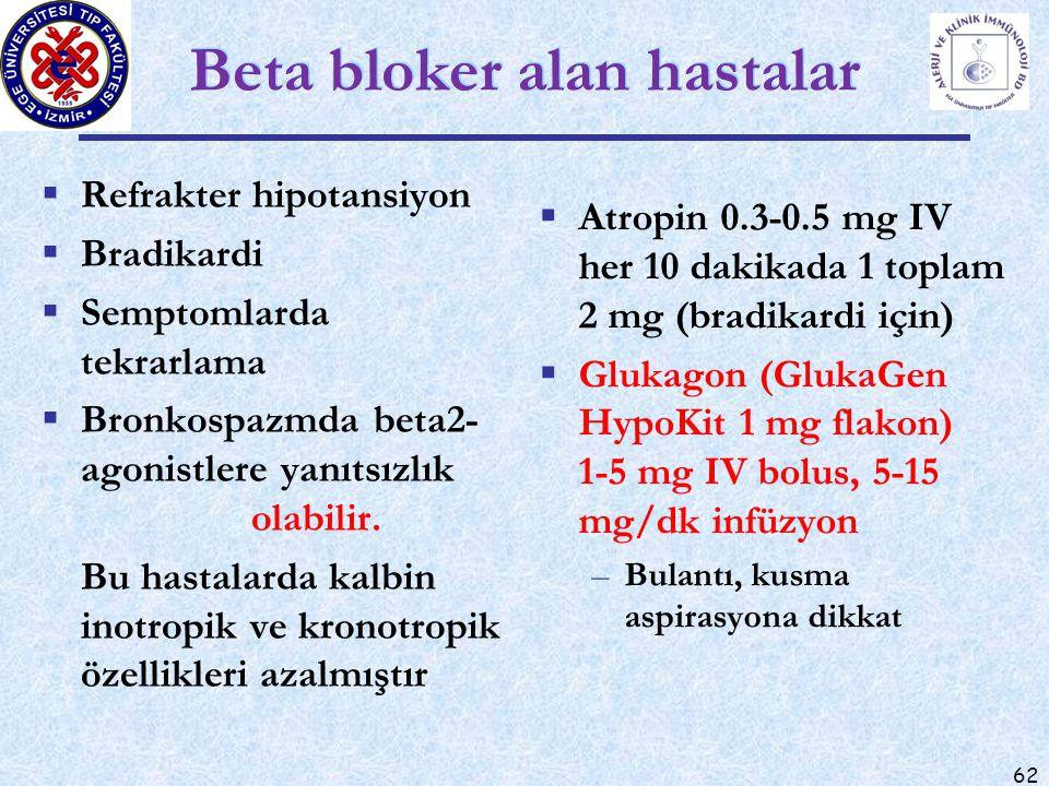 62 Beta bloker alan hastalar  Refrakter hipotansiyon  Bradikardi  Semptomlarda tekrarlama  Bronkospazmda beta2- agonistlere yanıtsızlık olabilir.