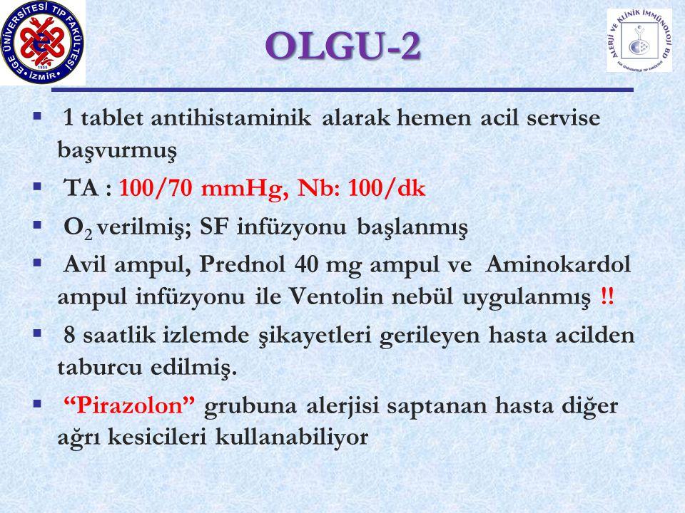  1 tablet antihistaminik alarak hemen acil servise başvurmuş  TA : 100/70 mmHg, Nb: 100/dk  O 2 verilmiş; SF infüzyonu başlanmış  Avil ampul, Prednol 40 mg ampul ve Aminokardol ampul infüzyonu ile Ventolin nebül uygulanmış !.