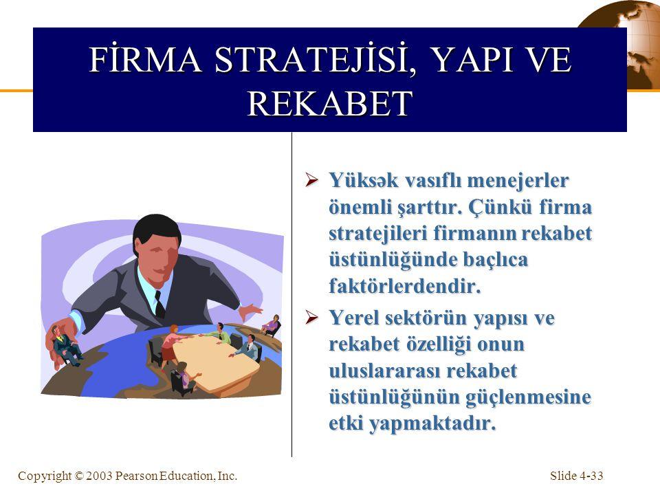 Slide 4-33Copyright © 2003 Pearson Education, Inc. FİRMA STRATEJİSİ, YAPI VE REKABET  Yüksək vasıflı menejerler önemli şarttır. Çünkü firma stratejil