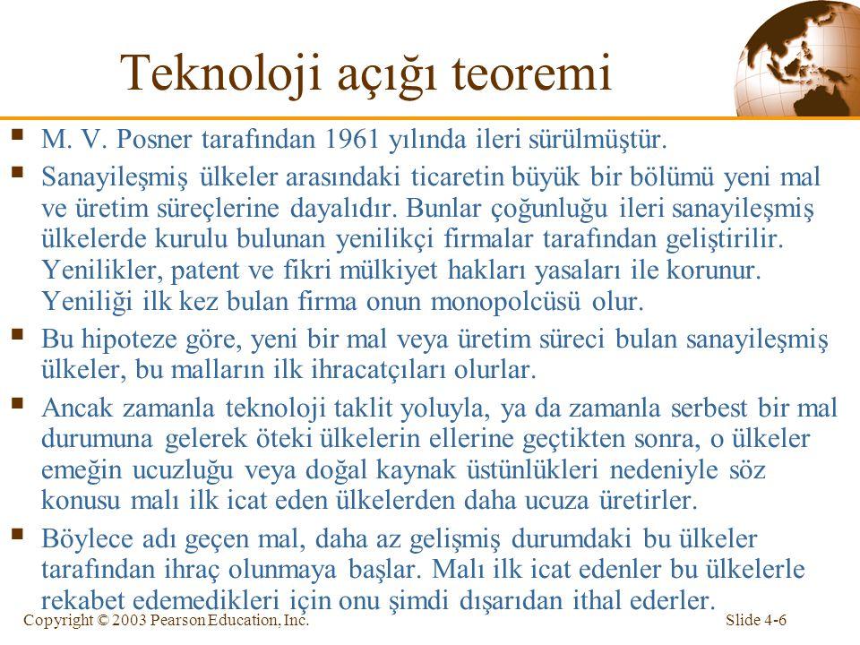 Slide 4-6Copyright © 2003 Pearson Education, Inc. Teknoloji açığı teoremi  M. V. Posner tarafından 1961 yılında ileri sürülmüştür.  Sanayileşmiş ülk