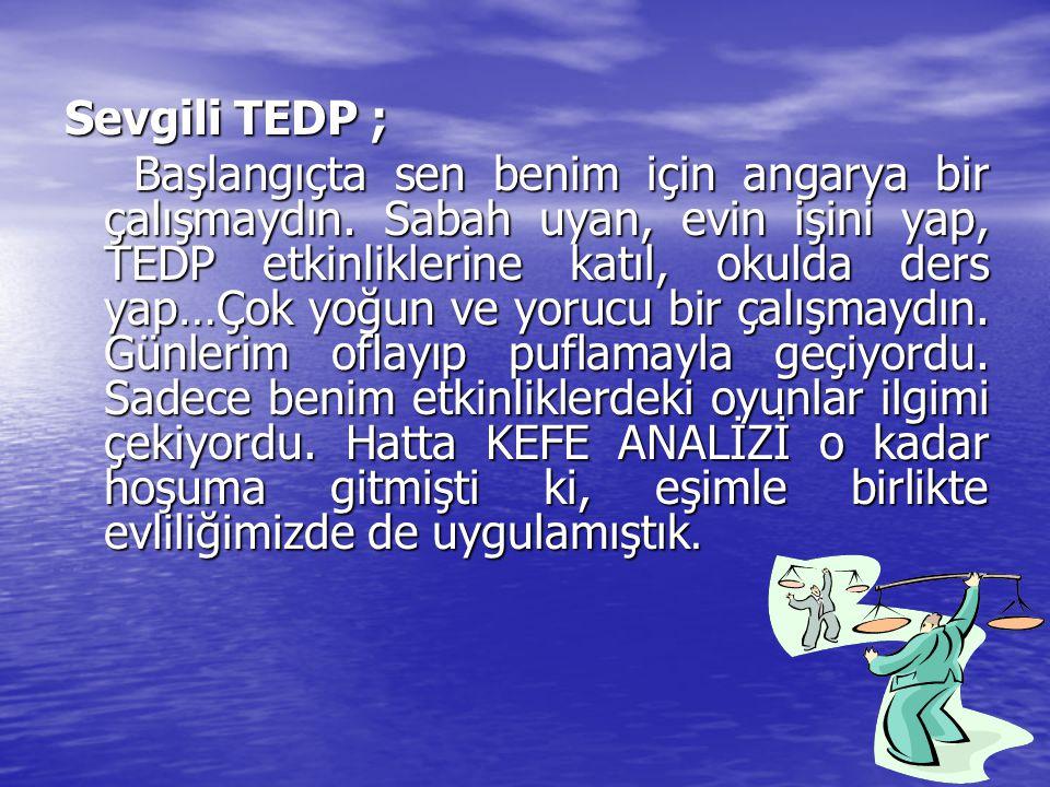 Sevgili TEDP ; Sevgili TEDP ; Başlangıçta sen benim için angarya bir çalışmaydın. Sabah uyan, evin işini yap, TEDP etkinliklerine katıl, okulda ders y
