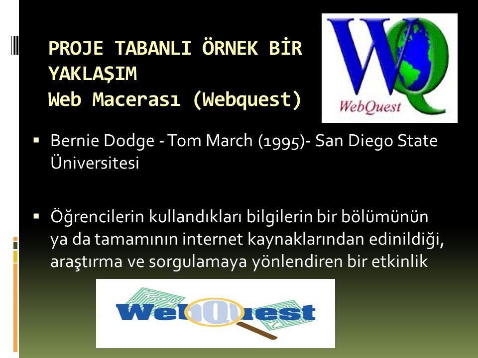 PROJE TABANLI ÖRNEK BİR YAKLAŞIM Web Macerası (Webquest)  Bernie Dodge - Tom March (1995)- San Diego State Üniversitesi  Öğrencilerin kullandıkları