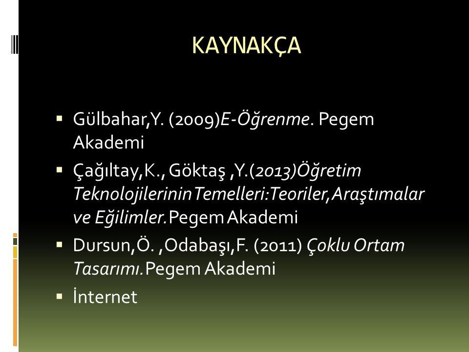 KAYNAKÇA  Gülbahar,Y. (2009)E-Öğrenme. Pegem Akademi  Çağıltay,K., Göktaş,Y.(2013)Öğretim Teknolojilerinin Temelleri:Teoriler,Araştımalar ve Eğiliml