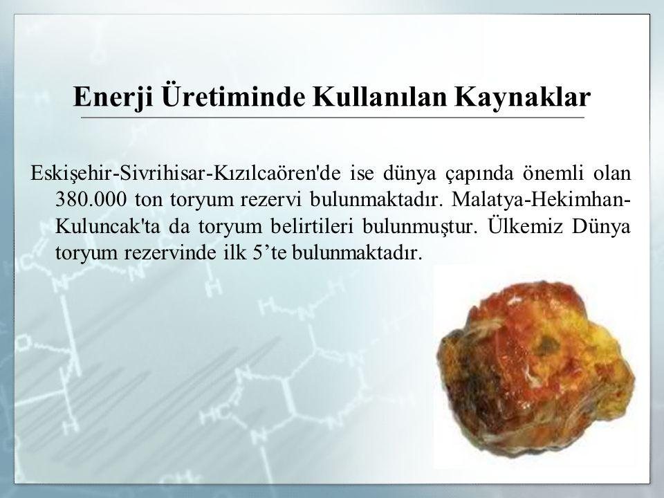 Enerji Üretiminde Kullanılan Kaynaklar Eskişehir-Sivrihisar-Kızılcaören'de ise dünya çapında önemli olan 380.000 ton toryum rezervi bulunmaktadır. Mal