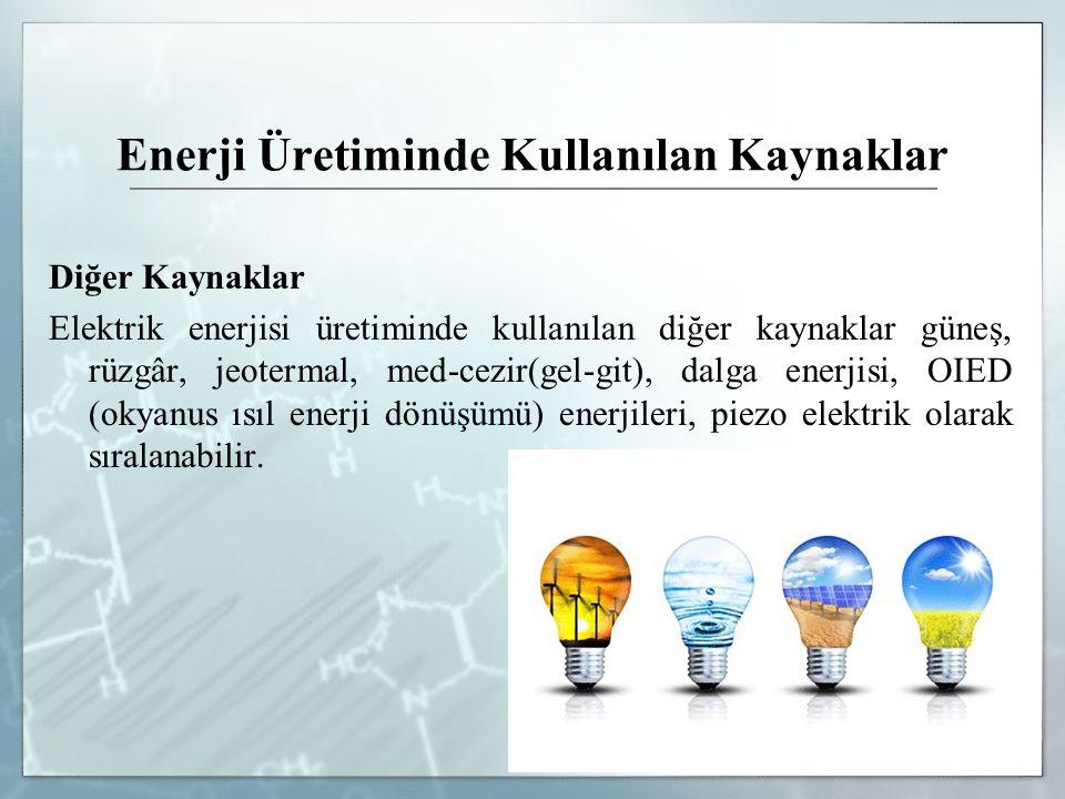 Enerji Üretiminde Kullanılan Kaynaklar Diğer Kaynaklar Elektrik enerjisi üretiminde kullanılan diğer kaynaklar güneş, rüzgâr, jeotermal, med-cezir(gel