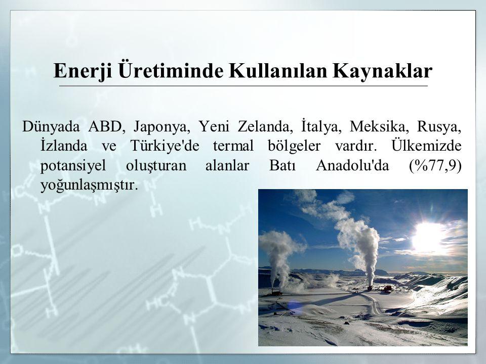 Dünyada ABD, Japonya, Yeni Zelanda, İtalya, Meksika, Rusya, İzlanda ve Türkiye'de termal bölgeler vardır. Ülkemizde potansiyel oluşturan alanlar Batı