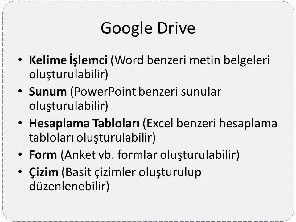 Google Drive Kelime İşlemci (Word benzeri metin belgeleri oluşturulabilir) Sunum (PowerPoint benzeri sunular oluşturulabilir) Hesaplama Tabloları (Exc