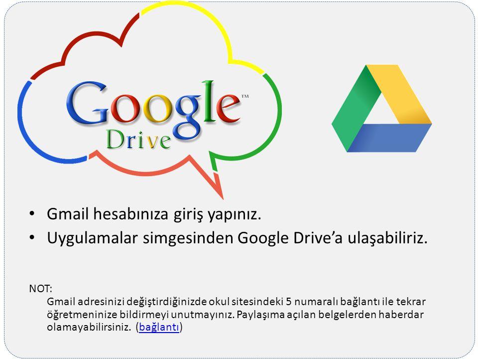 Gmail hesabınıza giriş yapınız. Uygulamalar simgesinden Google Drive'a ulaşabiliriz. NOT: Gmail adresinizi değiştirdiğinizde okul sitesindeki 5 numara