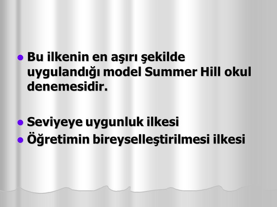 Bu ilkenin en aşırı şekilde uygulandığı model Summer Hill okul denemesidir. Bu ilkenin en aşırı şekilde uygulandığı model Summer Hill okul denemesidir