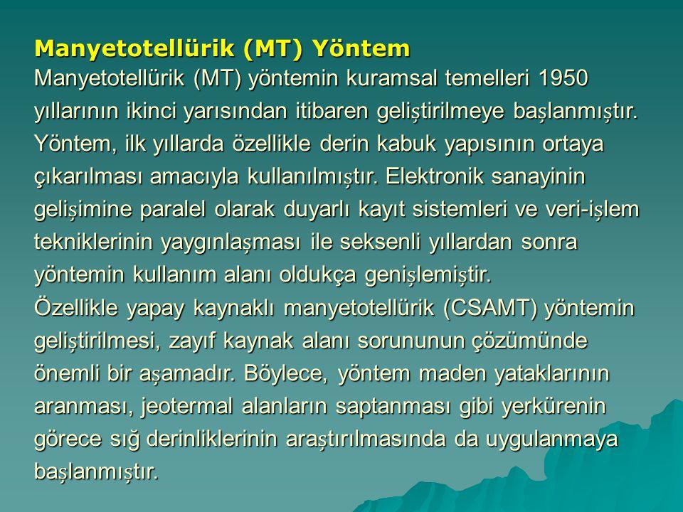 Manyetotellürik (MT) Yöntem Manyetotellürik (MT) yönteminkuramsal temelleri 1950 yıllarının ikinci yarısından itibaren gelitirilmeye balanmıtır.