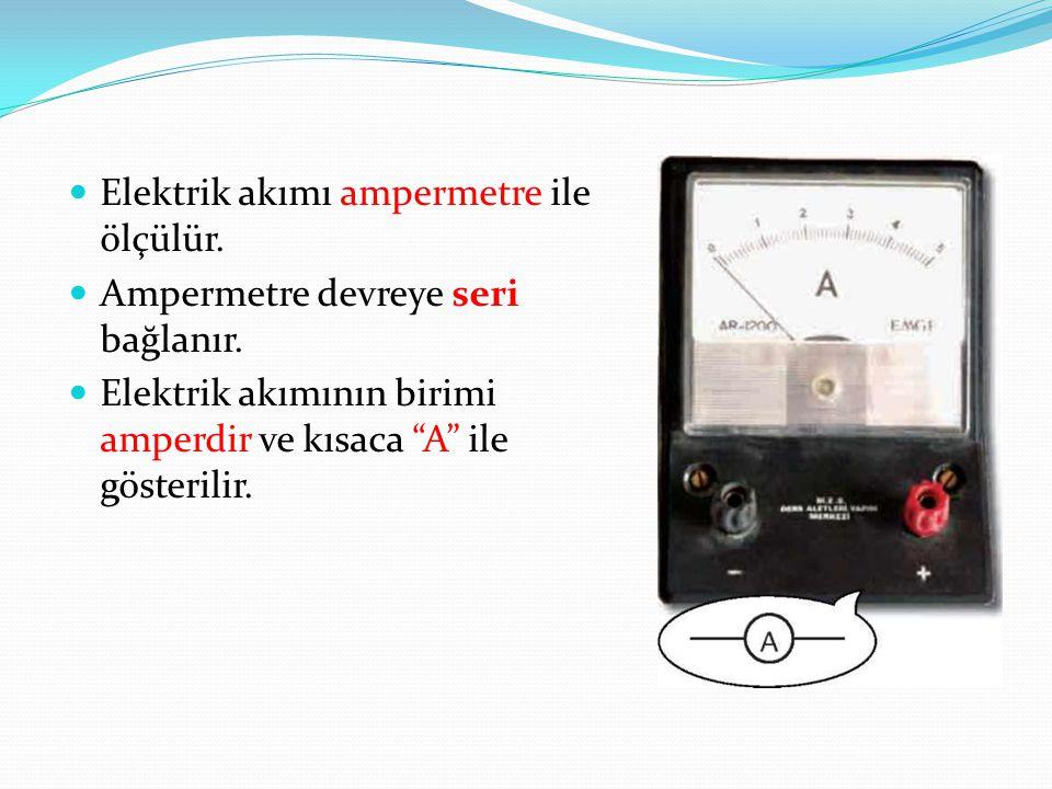 """Elektrik akımı ampermetre ile ölçülür. Ampermetre devreye seri bağlanır. Elektrik akımının birimi amperdir ve kısaca """"A"""" ile gösterilir."""